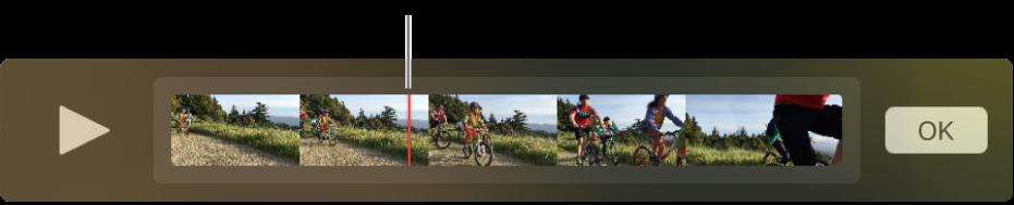 Un clip en la ventana de QuickTime Player con el cursor de reproducción cerca del centro del clip.