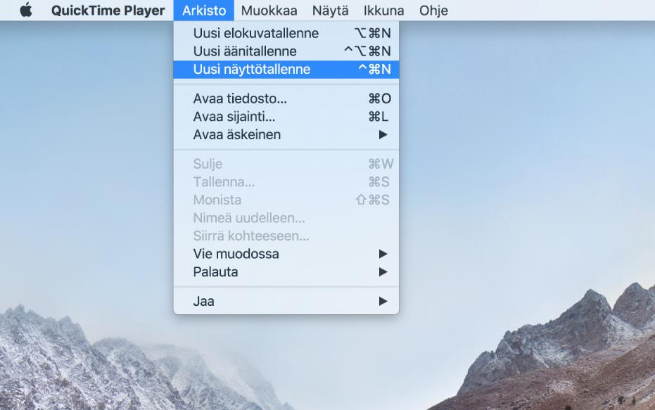Macin näyttö, jossa näkyy näytön tallennus sen jälkeen, kun käyttäjä valitsee Arkisto> Uusi näyttötallennus, klikkaa Tallenna, vetää näytön osan yli ja klikkaa Aloita tallennus -painiketta. Valittu osa näytöstä, jossa näkyy, kuinka osoitin klikkaa Emojit ja symbolit -kohdetta Finderin Muokkaa-valikossa.