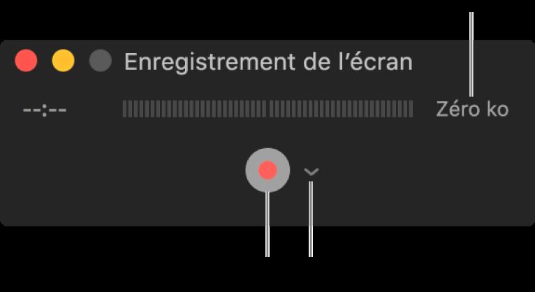 La fenêtre Enregistrement de l'écran avec le bouton Enregistrer en bas et le menu local Options à côté.