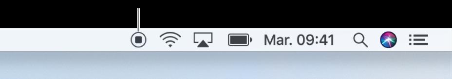 Le bouton Arrêter dans la barre des menus.