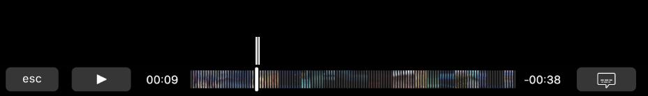 Controlli di riproduzione in Touch Bar. Il pulsante Riproduci/Pausa si trova sulla sinistra accanto alla testina di riproduzione che puoi trascinare per passare in un punto specifico del file. A sinistra della testina di riproduzione è indicato il tempo trascorso, mentre a destra è indicato il tempo rimanente.