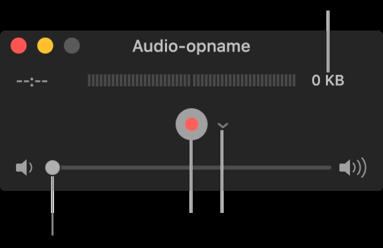 Het venster 'Audio-opname' met in het midden de opnameknop en het venstermenu 'Opties', en onderin de volumeregelaar.