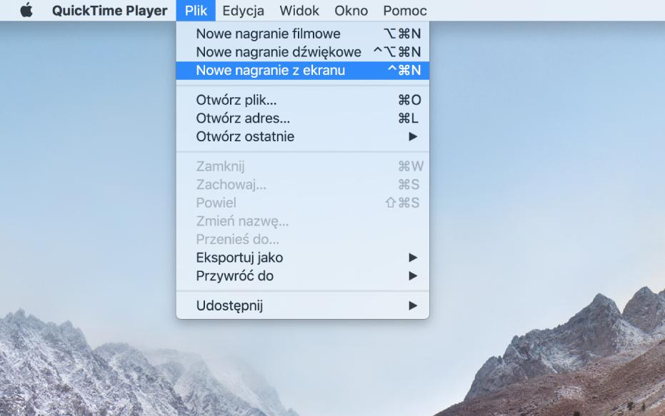 Ekran Maca pokazujący nagrywanie zawartości ekranu po wybraniu polecenia menu Plik> Nowe nagranie zekranu, kliknięciu wNagraj, przeciągnięciu wskaźnikiem przez część ekranu, anastępnie kliknięciu wprzycisk Rozpocznij nagrywanie. Zaznaczona część ekranu, na której użytkownik kliknął wrzecz na palecie Emoji isymbole wmenu Edycja wFinderze.