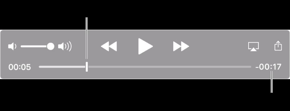 Narzędzia odtwarzania QuickTime Player. Na górze znajdują się kolejno narzędzie głośności; przycisk przewijania do tyłu, przycisk odtwarzania/pauzy iprzycisk przewijania do przodu. Na dole znajduje się głowica odtwarzania, którą można przesunąć do konkretnego miejsca wpliku. Wdolnej prawej części widoczny jest czas pozostały pliku.