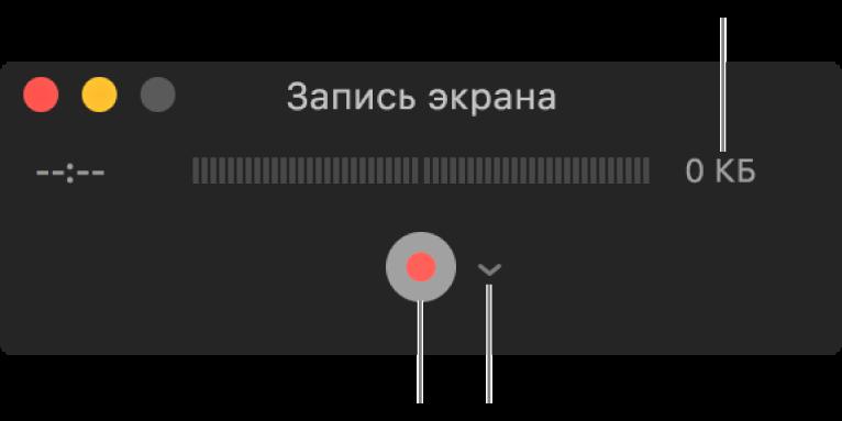 Окно «Запись экрана» с кнопкой «Запись» внизу и всплывающим меню «Параметры» рядом с ней.