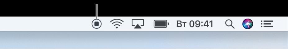 Кнопка «Стоп» в строке меню.