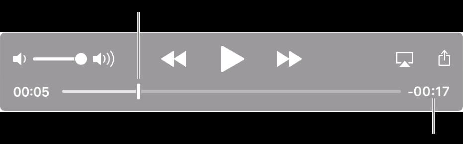"QuickTime Player 播放控制。 顶部是音量控制、""倒回""按钮、""播放/暂停""按钮和""快进""按钮。 底部是播放头,拖移可前往文件中的特定点。 文件的剩余时间显示在右下方。"