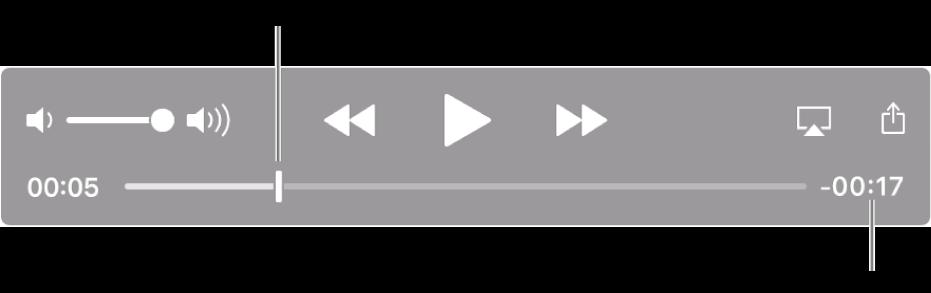 QuickTime Player 播放控制項目。 沿著最上方分別為音量控制項目、「倒轉」按鈕、「播放/暫停」按鈕和「快轉」按鈕。 底部則為播放磁頭,可供您拖移來移至在檔案中的特定點。 檔案剩餘時間會顯示在右側下方。