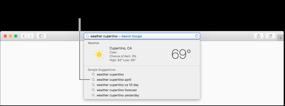 """عبارة البحث """"الطقس في كوبرتينو"""" مكتوبة في حقل البحث الذكي، ونتائج اقتراحات Safari."""