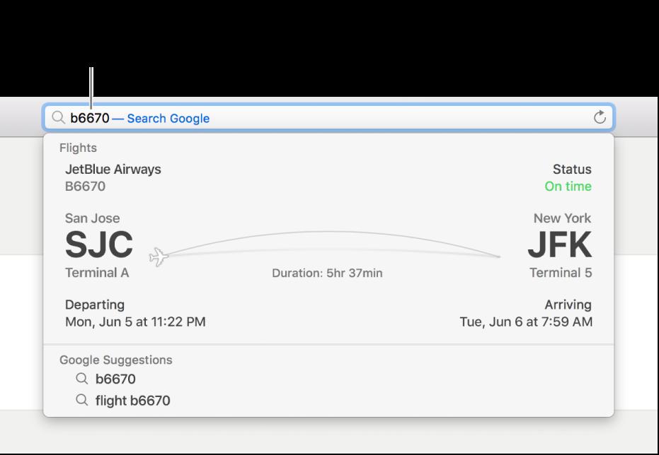 رقم رحلة طيران مكتوبة في حقل البحث الذكي، مع حالة رحلة الطيران معروضة مباشرة بالأسفل.