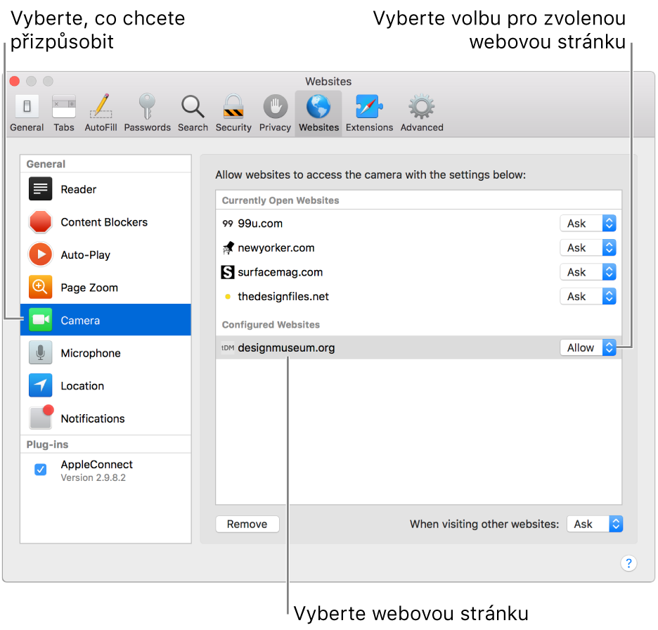 Panel Webové stránky vpředvolbách Safari, kde můžete přizpůsobit způsob procházení konkrétních webových serverů