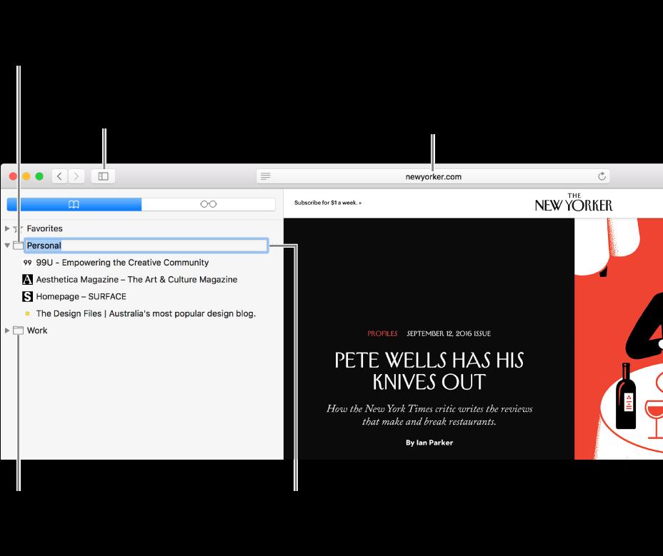 Ein Safari-Fenster mit Lesezeichen in der Seitenleiste und einem zur Bearbeitung ausgewählten Lesezeichen.