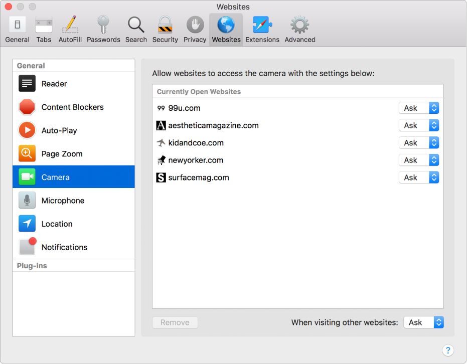 Websites preferences, where you can customize the way you browse individual websites using Safari.