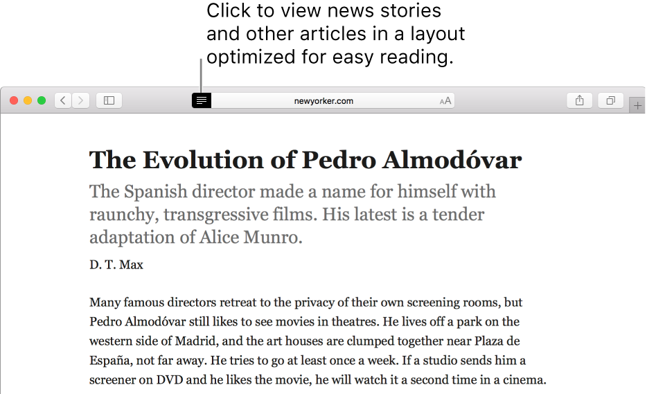 An article in Reader Mode, with all ads and navigation stripped away.