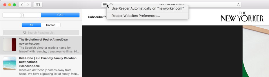 Ventana de Safari con una Lista de lectura desplegada.