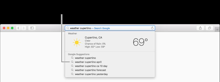 """La frase de búsqueda """"clima cupertino"""" ingresada en el campo de búsqueda inteligente, y los resultados de las Sugerencias de Safari."""