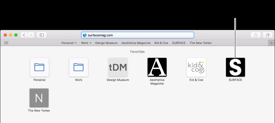 Safarin osoite- ja hakukenttä ja suosikkisivustojen kuvakkeet sen alapuolella.