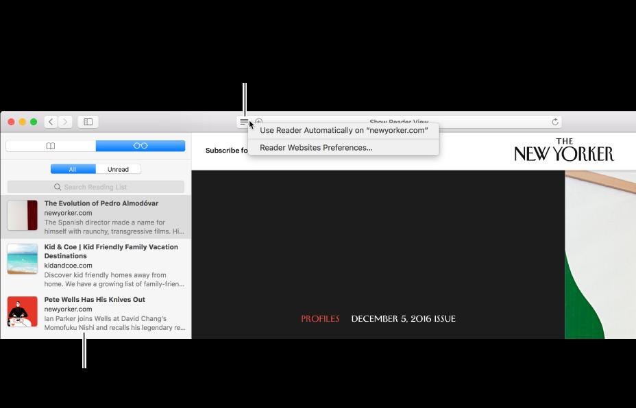 Une fenêtre Safari avec une liste de lecture.