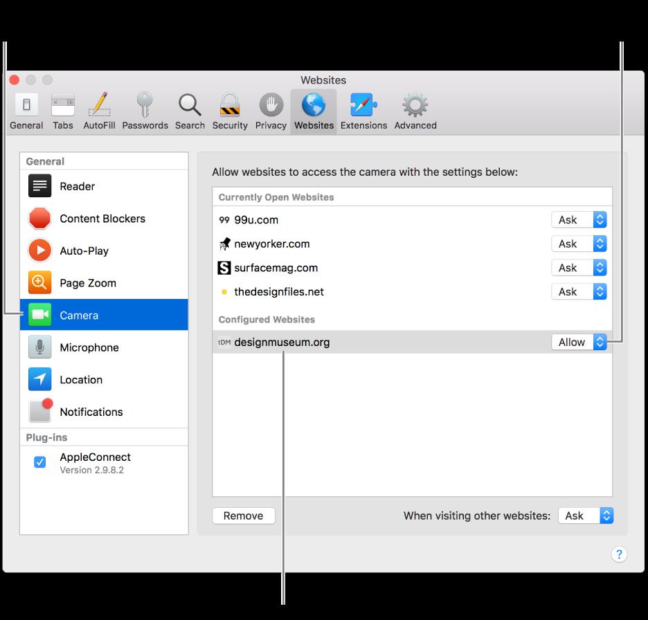 A Safari beállításainak Webhelyek panelje; itt szabható testre az egyes webhelyeken a böngészés módja.