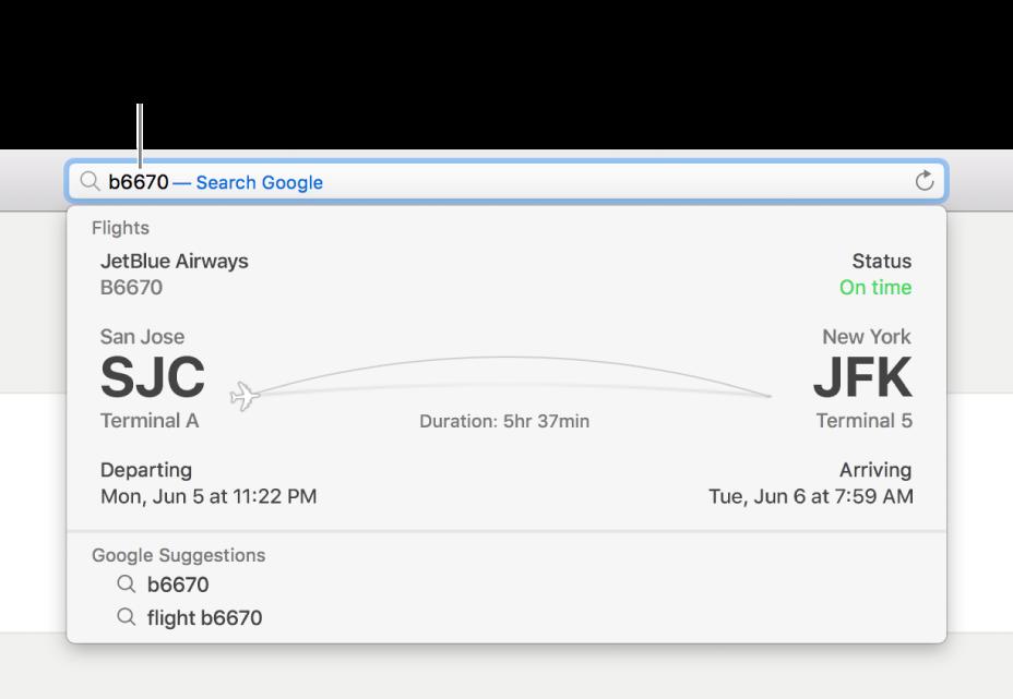 Nomor penerbangan dimasukkan di bidang Pencarian Cerdas, dengan status penerbangan ditampilkan tepat di bawah.