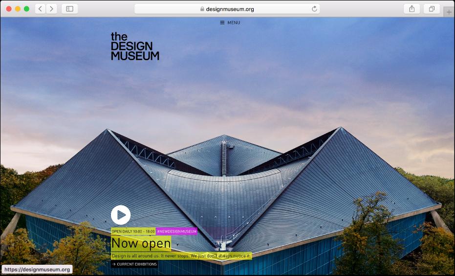 잡지 웹 사이트를 표시하는 Safari 윈도우.