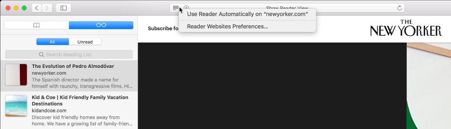 읽기 도구 목록이 표시된 Safari 윈도우.