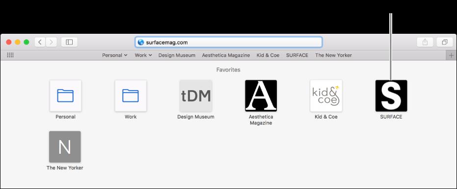 아래에 즐겨찾는 웹 사이트의 아이콘이 있는 스마트 검색 필드.