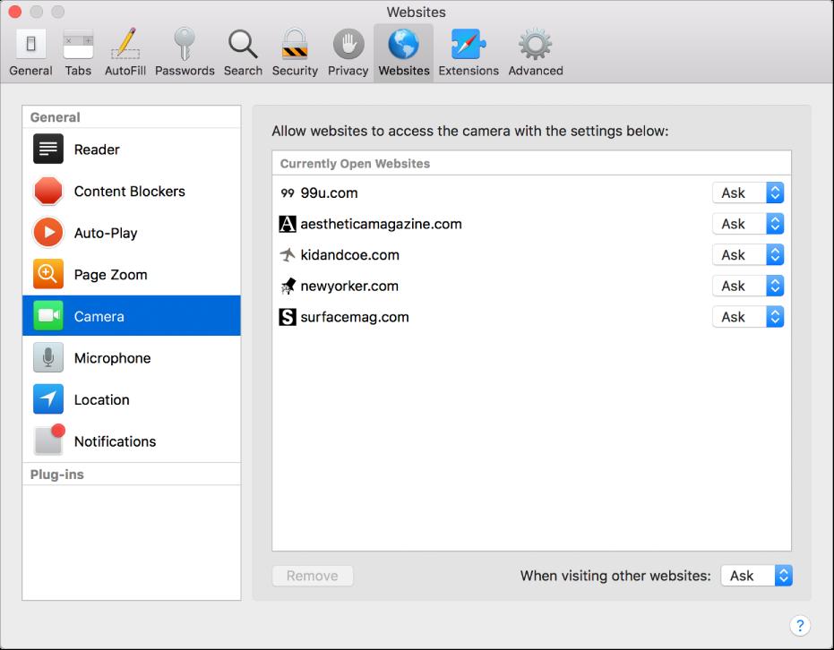 Het paneel 'Websites' in het voorkeurenvenster van Safari, waar je per website kunt instellen hoe je daarmee wilt werken.
