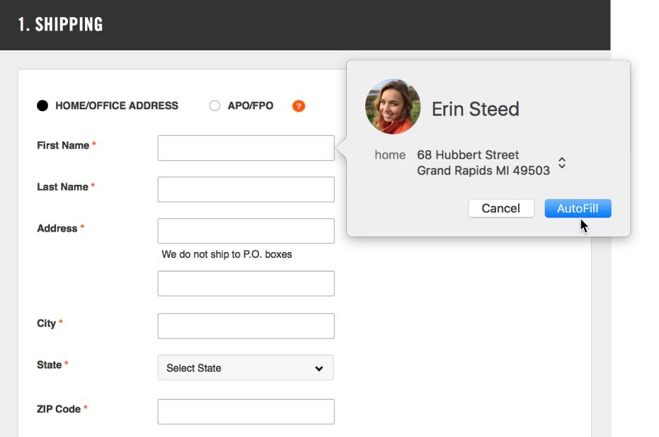 Et leveringsskjema der et kontaktkort vises og Autoutfyll er tilgjengelig.