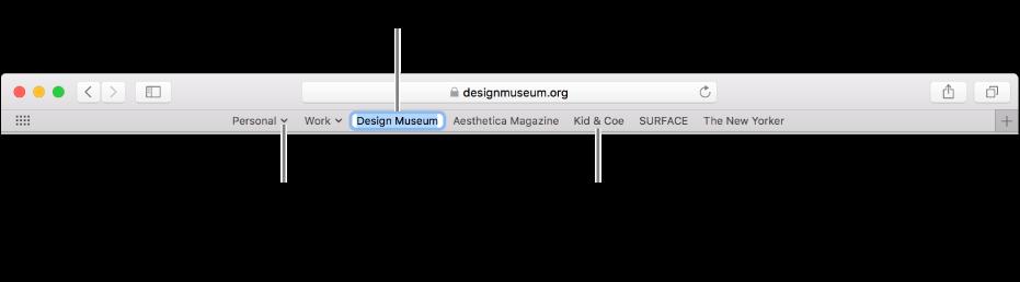 Pasek ulubionych zfolderem zakładek. Aby edytować zakładkę lub folder na pasku, kliknij iprzytrzymaj dany element. Aby zmienić ułożenie elementów na pasku, przeciągnij je. Aby usunąć element, przeciągnij go poza obszar paska.