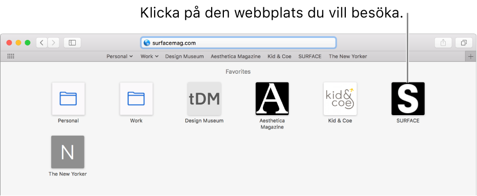 Safaris adress- och sökfält med symbolerna för favoritwebbplatser nedanför.