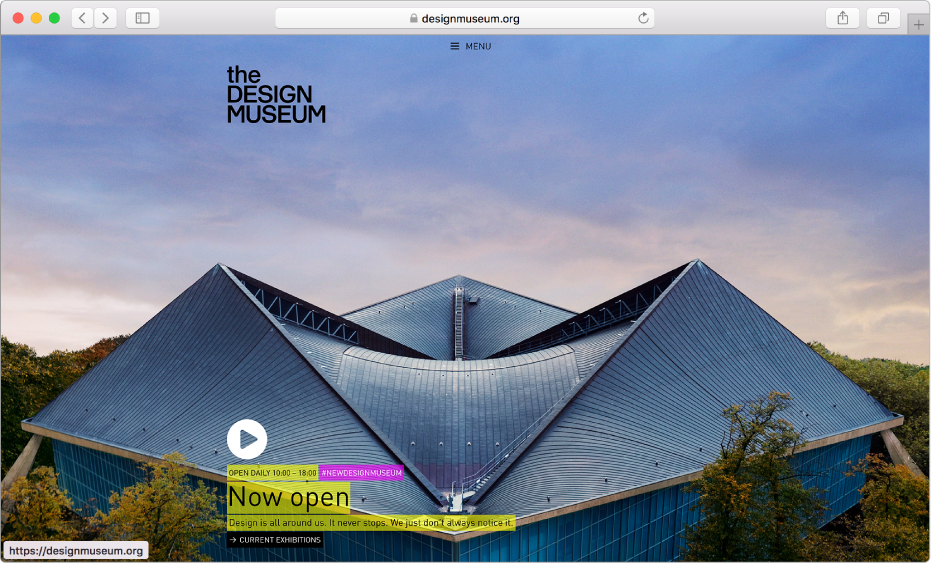 หน้าต่าง Safari ที่แสดงเว็บไซต์นิตยสาร