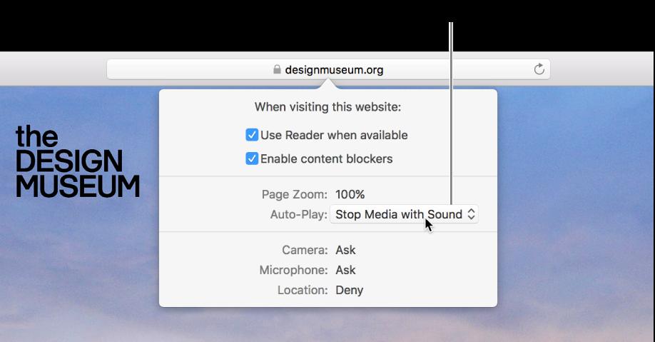 กล่องโต้ตอบที่ปรากฏขึ้นใต้ช่องค้นหาอัจฉริยะเมื่อคุณเลือก Safari > การตั้งค่าของเว็บไซต์นี้กล่องโต้ตอบประกอบด้วยตัวเลือกต่างๆ สำหรับกำหนดวิธีที่คุณท่องเว็บไซต์ปัจจุบัน ซึ่งรวมถึงการใช้มุมมองตัวอ่าน การเปิดใช้งานตัวปิดกั้นเนื้อหา และอื่นๆ