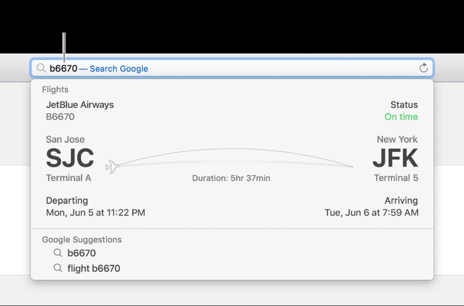 หมายเลขเที่ยวบินที่ป้อนอยู่ในช่องค้นหาอัจฉริยะ โดยมีสถานะของเที่ยวบินที่แสดงโดยตรงอยู่ด้านล่าง