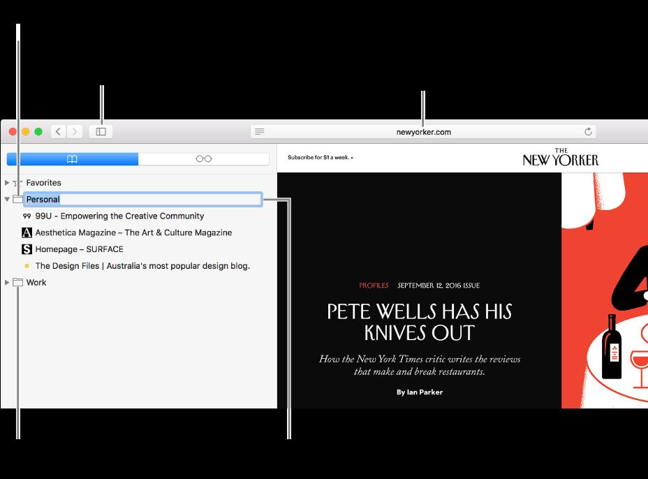 在边栏中显示书签的 Safari 窗口;其中选定一个书签供编辑。