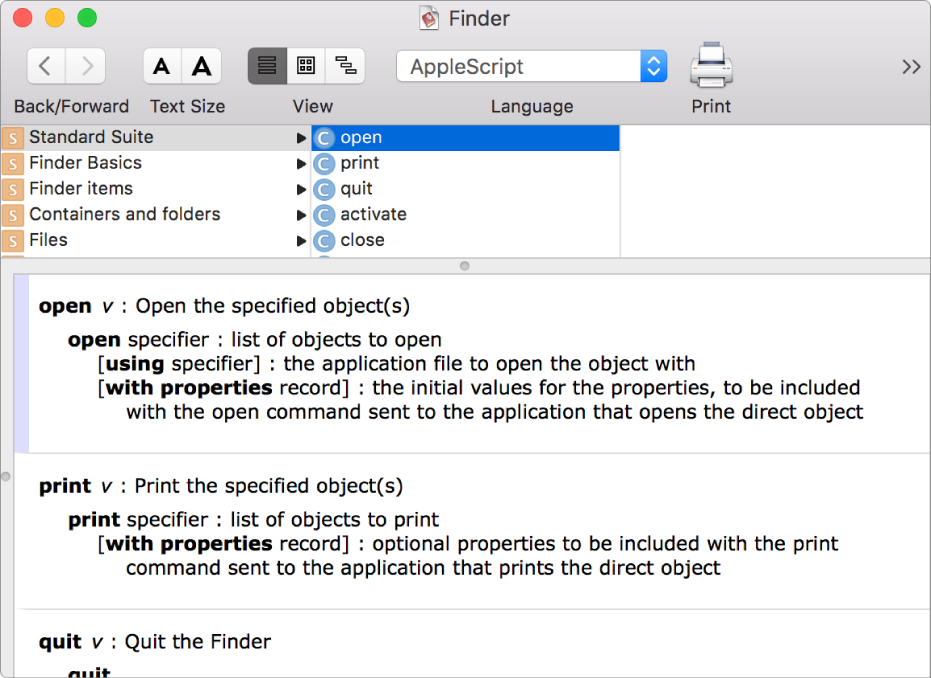 The Finder app AppleScript dictionary.