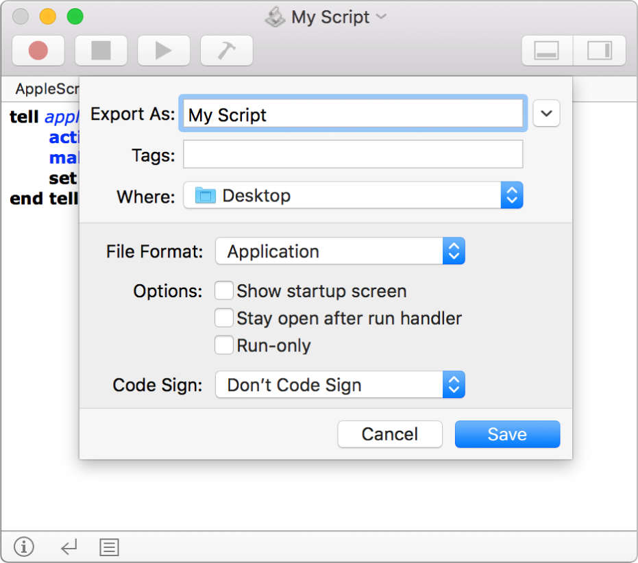 The Export dialog showing the File Format pop-up menu with Application selected and the options you can set when saving your script.