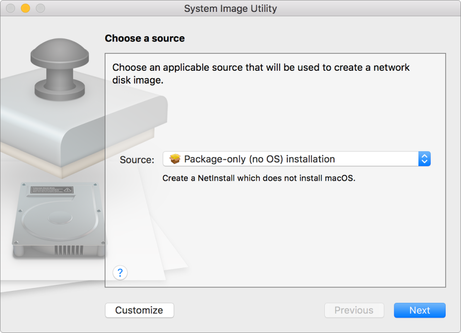 """The System Image Utility window showing the app during the creation of a package-only image. In the middle is the Source pop-up menu with """"Package-only (no OS) installation"""" chosen."""