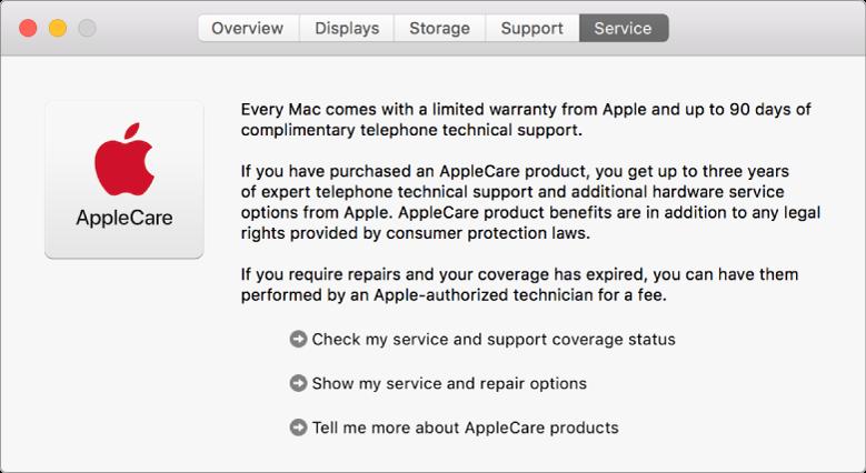 Vinduet Service i Oplysninger om system viser AppleCares servicemuligheder.