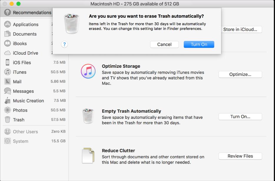 """""""Tyhjennetäänkö roskakori automaattisesti"""" -valintaikkuna tallennustilasuositusten ikkunassa."""