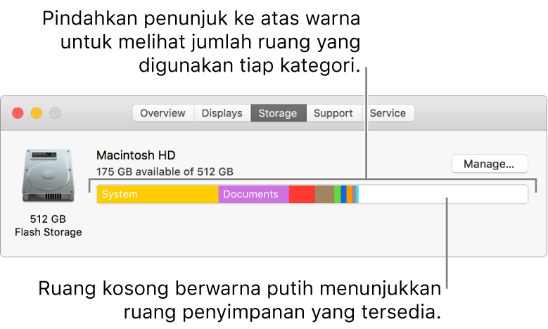 Pindahkan penunjuk ke atas warna untuk melihat jumlah ruang yang digunakan oleh setiap kategori. Ruang putih menunjukkan ruang penyimpanan yang tersedia.