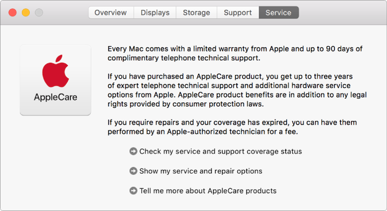 Service-panelet i Systeminformasjon, som viser servicevalgene for AppleCare.