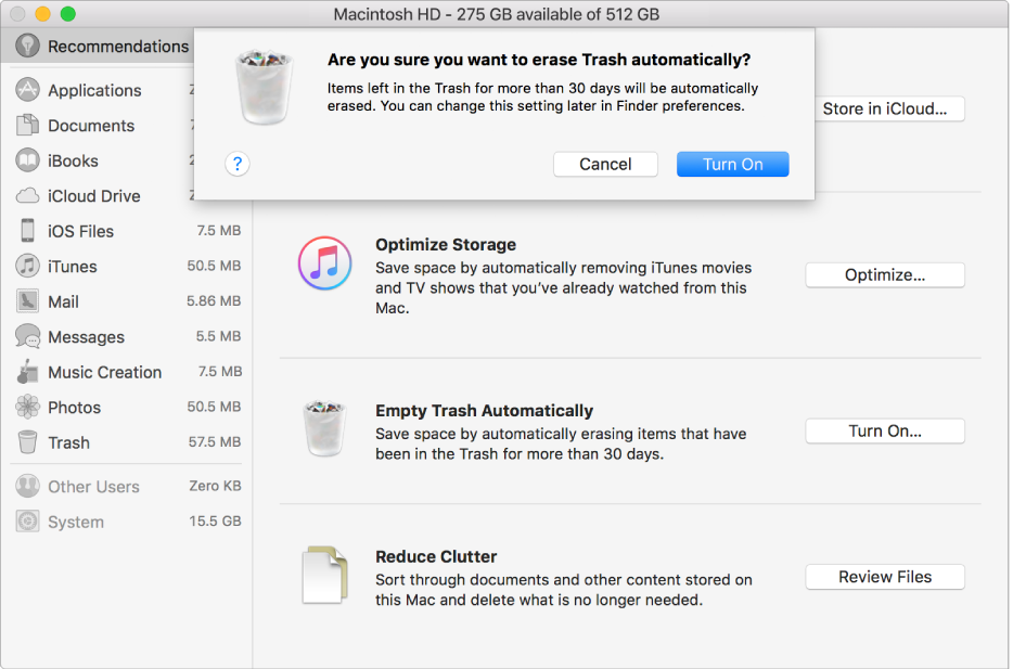"""Caixa de diálogo """"Tem certeza de que deseja eliminar o Lixo automaticamente?"""" na janela de Recomendações de Armazenamento."""