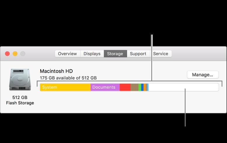Наведите указатель на цвет для просмотра количества места, занятого данной категорией. Белая область показывает доступное дисковое пространство.