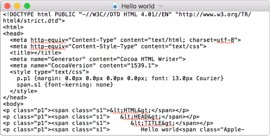 An HMTL file in code-editing mode.