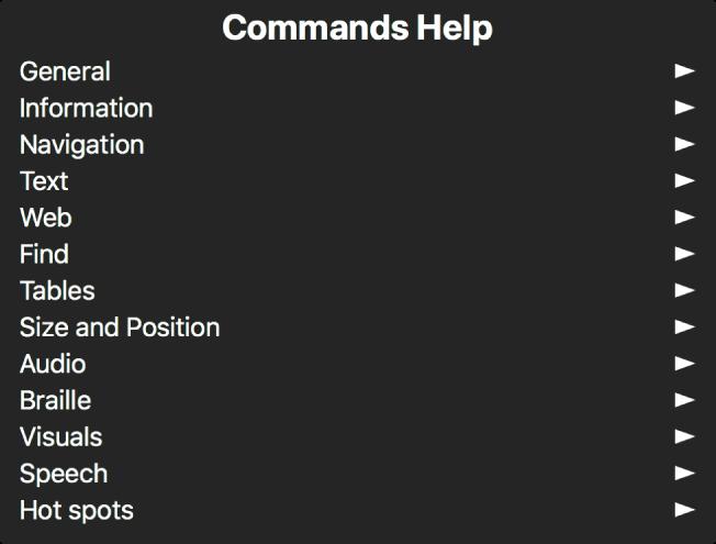 """El menú """"Ayuda sobre comandos"""" es un panel donde se muestra una lista de las categorías de comandos, que comienzan por General y terminan por """"Puntos activos"""". A la derecha de cada ítem de la lista hay una flecha para acceder al submenú del ítem."""