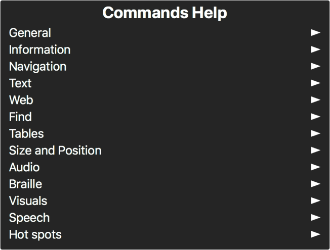Kommandohjelp-menyen er et panel som viser en liste med kommandokategorier, som starter med Generelt og slutter med Fokuspunkter. Til høyre for hvert objekt i listen er det en pil som gir tilgang til objektundermenyen.