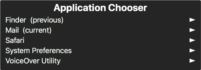Wybór aplikacji to panel wyświetlający aktualnie otworzone aplikacje. Po prawej stronie każdej nazwy na liście widoczna jest strzałka.