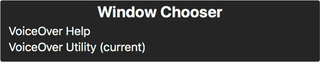 Wybór okna to panel wyświetlający listę aktualnie otworzonych okien.