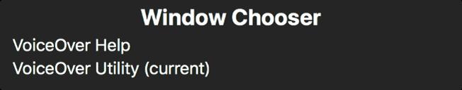 Nástroj Výber okien je panel, ktorý zobrazuje zoznam aktuálne otvorených okien.